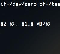在Macbook Pro的虚拟机磁盘IO测试结果为每秒81.8M